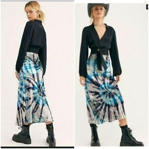Free People Serious Swagger Tie Day Velvet Skirt